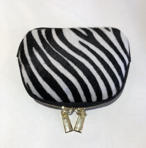 Leather Animal Print Purse/Make Up Bag -  Zebra